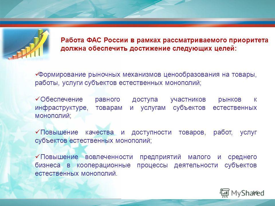 Работа ФАС России в рамках рассматриваемого приоритета должна обеспечить достижение следующих целей: Формирование рыночных механизмов ценообразования на товары, работы, услуги субъектов естественных монополий; Обеспечение равного доступа участников р