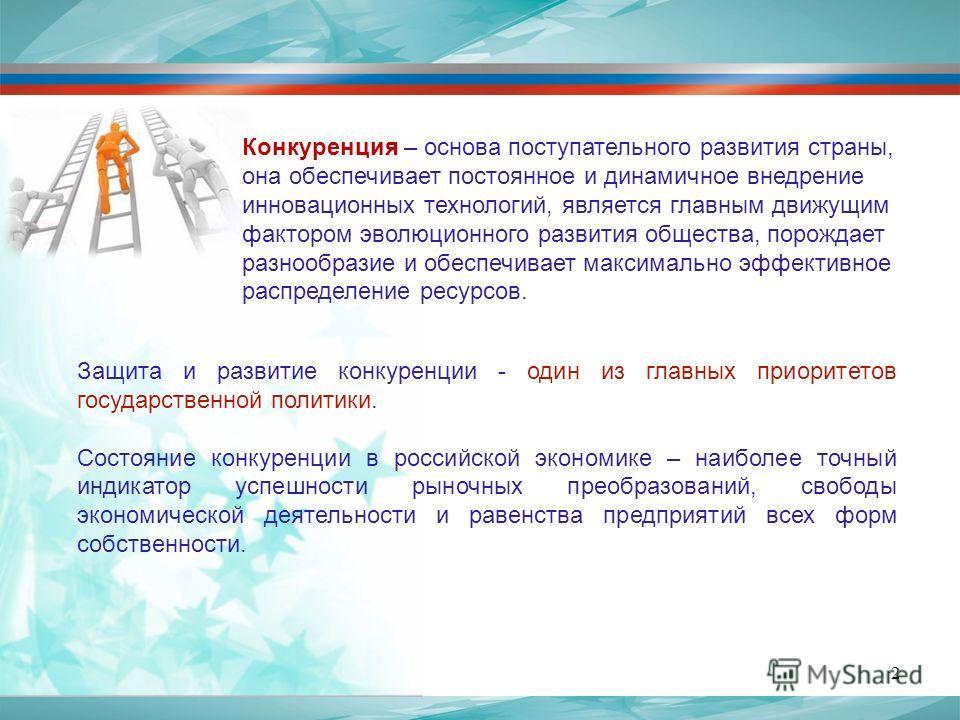 Защита и развитие конкуренции - один из главных приоритетов государственной политики. Состояние конкуренции в российской экономике – наиболее точный индикатор успешности рыночных преобразований, свободы экономической деятельности и равенства предприя