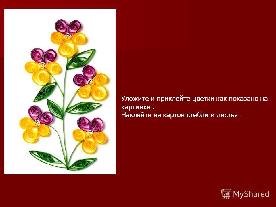 Уложите и приклейте цветки как показано на картинке. Наклейте на картон стебли и листья.