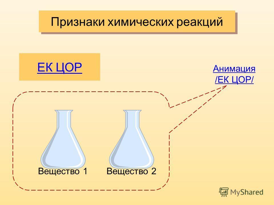 Признаки химических реакций ЕК ЦОР Вещество 1Вещество 2 Анимация /ЕК ЦОР/
