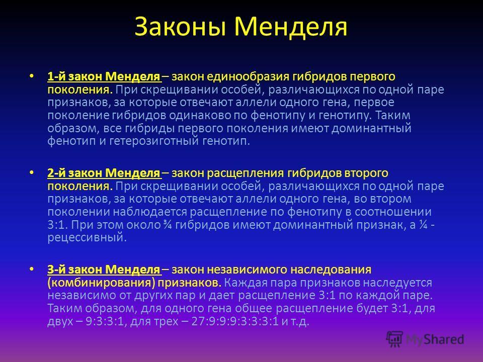 Законы Менделя 1-й закон Менделя – закон единообразия гибридов первого поколения. При скрещивании особей, различающихся по одной паре признаков, за которые отвечают аллели одного гена, первое поколение гибридов одинаково по фенотипу и генотипу. Таким