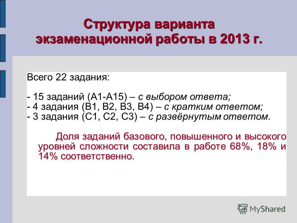 Структура варианта экзаменационной работы в 2013 г. Всего 22 задания: - 15 заданий (А1-А15) – с выбором ответа; - 4 задания (В1, В2, В3, В4) – с кратким ответом; - 3 задания (С1, С2, С3) – с развёрнутым ответом. Доля заданий базового, повышенного и в