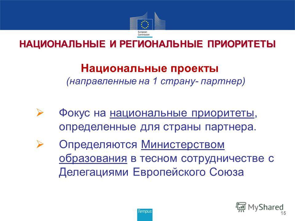 15 НАЦИОНАЛЬНЫЕ И РЕГИОНАЛЬНЫЕ ПРИОРИТЕТЫ Национальные проекты (направленные на 1 страну- партнер) Фокус на национальные приоритеты, определенные для страны партнера. Определяются Министерством образования в тесном сотрудничестве с Делегациями Европе