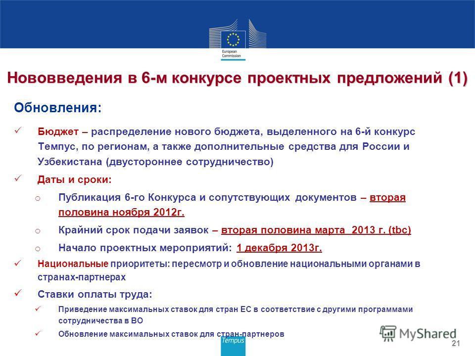 Нововведения в 6-м конкурсе проектных предложений (1) Обновления: Бюджет – распределение нового бюджета, выделенного на 6-й конкурс Темпус, по регионам, а также дополнительные средства для России и Узбекистана (двустороннее сотрудничество) Даты и сро