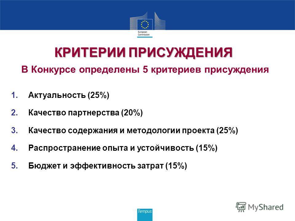КРИТЕРИИ ПРИСУЖДЕНИЯ КРИТЕРИИ ПРИСУЖДЕНИЯ В Конкурсе определены 5 критериев присуждения 1.Актуальность (25%) 2.Качество партнерства (20%) 3.Качество содержания и методологии проекта (25%) 4.Распространение опыта и устойчивость (15%) 5.Бюджет и эффект