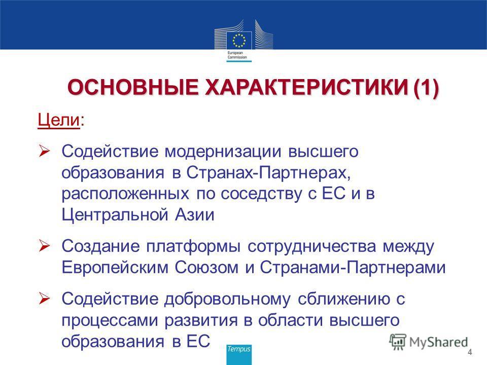 Цели: Содействие модернизации высшего образования в Странах-Партнерах, расположенных по соседству с ЕС и в Центральной Азии Создание платформы сотрудничества между Европейским Союзом и Странами-Партнерами Содействие добровольному сближению с процесса