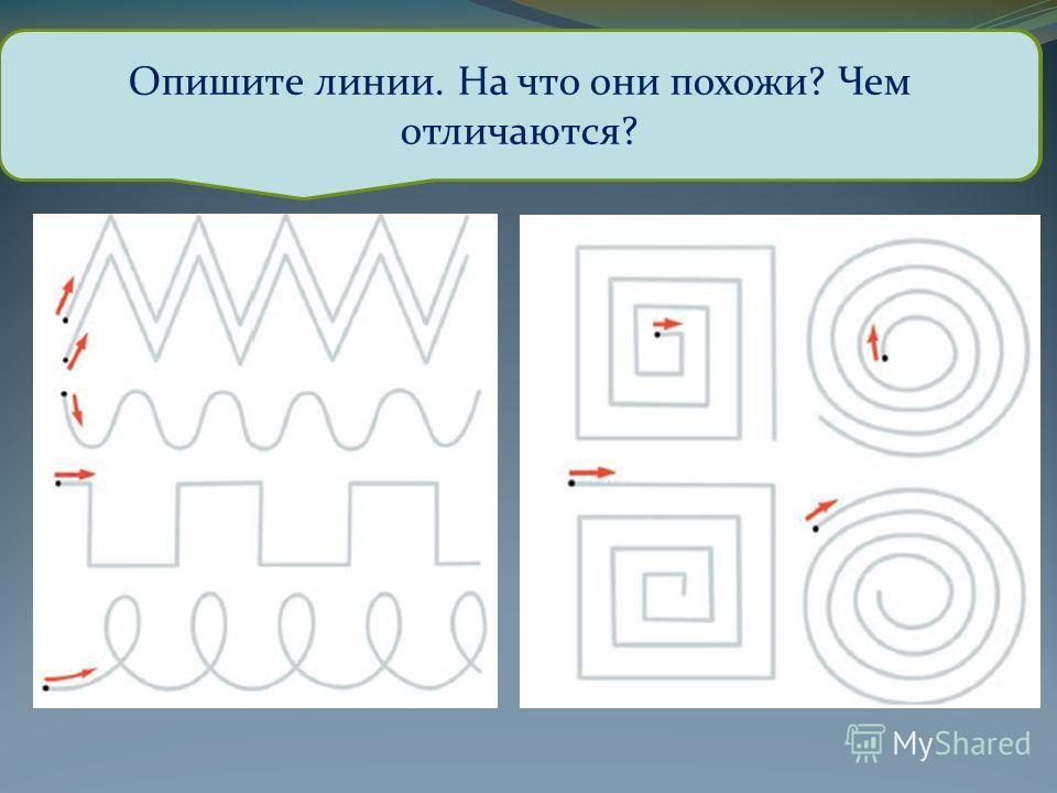 Обведите различные линии, стараясь не отрывать руки от бумаги. Опишите линии. На что они похожи? Чем отличаются?