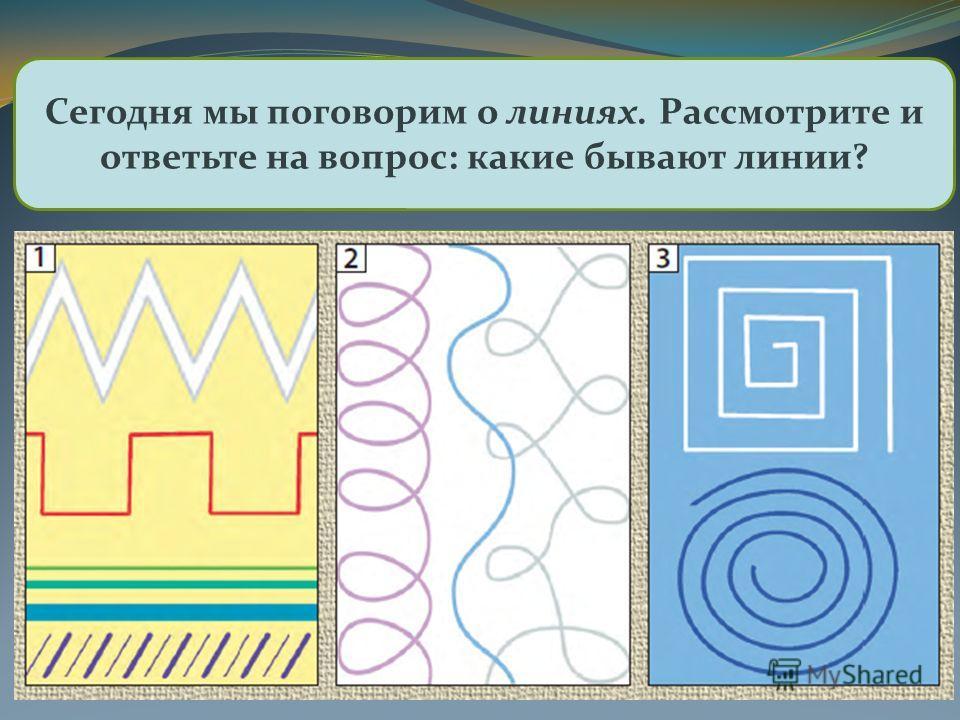 Рисовать можно с помощью линий, точек, пятен, штрихов Сегодня мы поговорим о линиях. Рассмотрите и ответьте на вопрос: какие бывают линии?