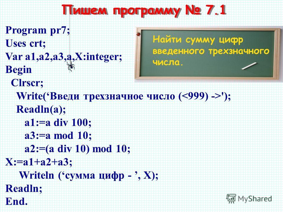 Пишем программу 7.1 Найти сумму цифр введенного трехзначного числа. Program pr7; Uses crt; Var a1,а2,a3,a,Х:integer; Begin Clrscr; Write(Введи трехзначное число ( '); Readln(а); a1:=a div 100; a3:=a mod 10; a2:=(a div 10) mod 10; X:=a1+a2+a3; Writeln