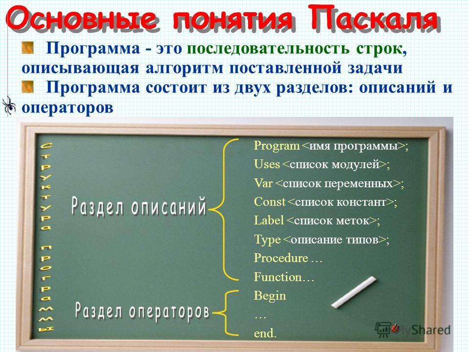 Основные понятия Паскаля Программа - это последовательность строк, описывающая алгоритм поставленной задачи Программа состоит из двух разделов: описаний и операторов Program ; Uses ; Var ; Const ; Label ; Type ; Procedure … Function… Begin … end.