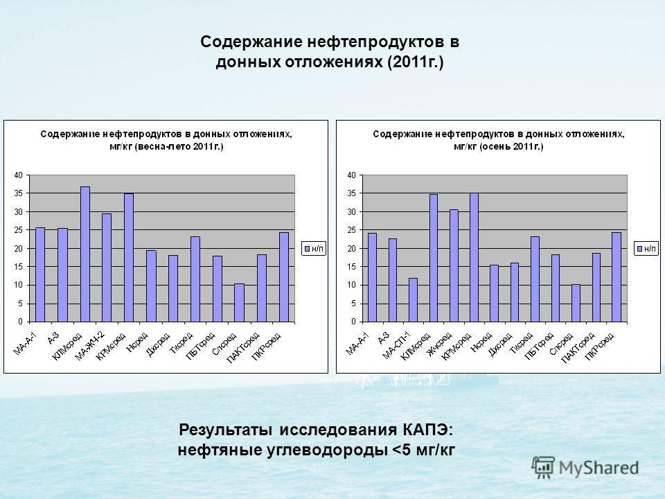 Содержание нефтепродуктов в донных отложениях (2011г.) Результаты исследования КАПЭ: нефтяные углеводороды