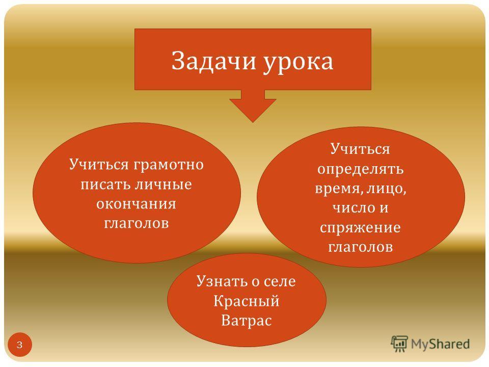 Задачи урока Учиться грамотно писать личные окончания глаголов Учиться определять время, лицо, число и спряжение глаголов Узнать о селе Красный Ватрас 3