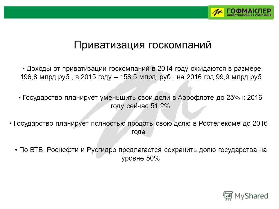 Приватизация госкомпаний Доходы от приватизации госкомпаний в 2014 году ожидаются в размере 196,8 млрд руб., в 2015 году – 158,5 млрд. руб., на 2016 год 99,9 млрд руб. Государство планирует уменьшить свои доли в Аэрофлоте до 25% к 2016 году сейчас 51