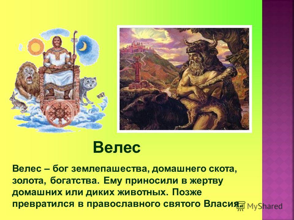 Велес Велес – бог землепашества, домашнего скота, золота, богатства. Ему приносили в жертву домашних или диких животных. Позже превратился в православного святого Власия.