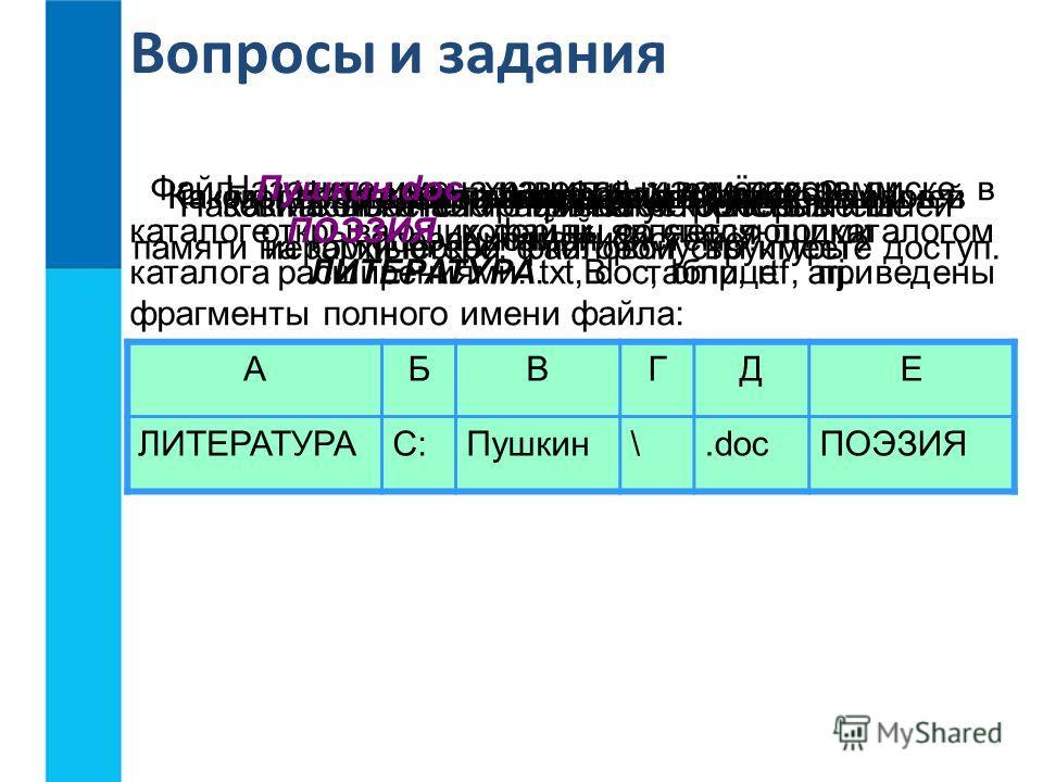 Вопросы и задания Что такое файл?Каковы основные правила именования файлов в операционной системе? Назовите имена известных вам программ, открывающих файлы со следующими расширениями: txt, doc, bmp, rtf, arj. Назовите логические имена устройств внешн