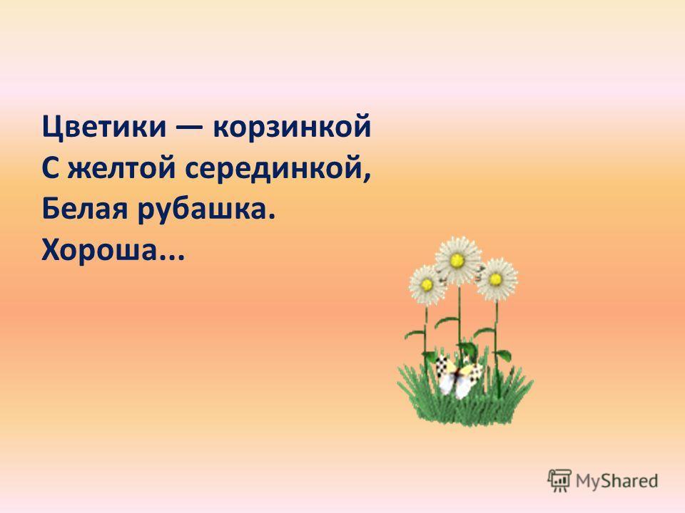 Цветики корзинкой С желтой серединкой, Белая рубашка. Хороша...