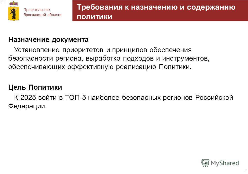 Правительство Ярославской области Требования к назначению и содержанию политики Назначение документа Установление приоритетов и принципов обеспечения безопасности региона, выработка подходов и инструментов, обеспечивающих эффективную реализацию Полит