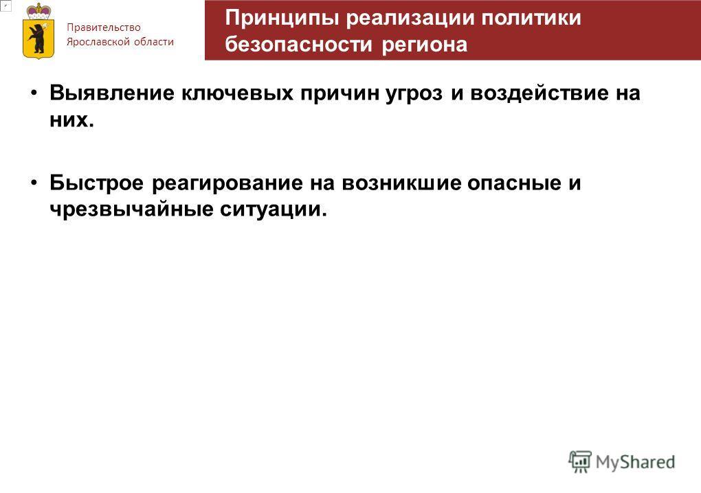 Правительство Ярославской области Принципы реализации политики безопасности региона Выявление ключевых причин угроз и воздействие на них. Быстрое реагирование на возникшие опасные и чрезвычайные ситуации.