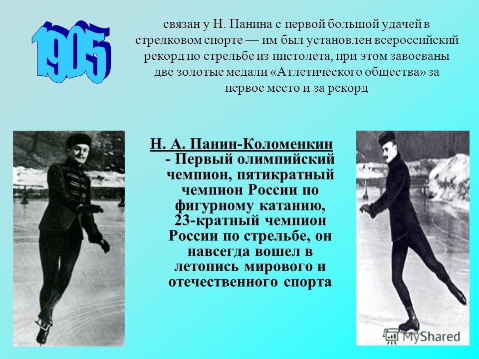 связан у Н. Панина с первой большой удачей в стрелковом спорте им был установлен всероссийский рекорд по стрельбе из пистолета, при этом завоеваны две золотые медали «Атлетического общества» за первое место и за рекорд Н. А. Панин-Коломенкин - Первый