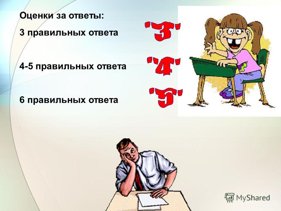 Оценки за ответы: 3 правильных ответа 4-5 правильных ответа 6 правильных ответа