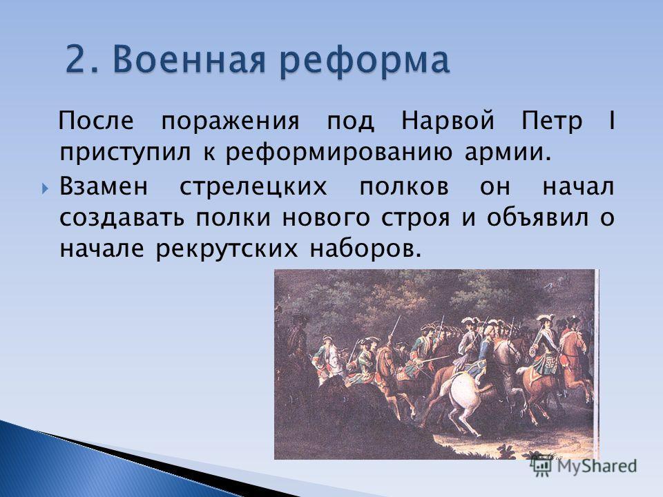 После поражения под Нарвой Петр I приступил к реформированию армии. Взамен стрелецких полков он начал создавать полки нового строя и объявил о начале рекрутских наборов.