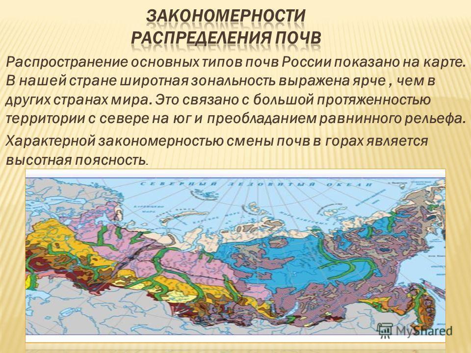 Распространение основных типов почв России показано на карте. В нашей стране широтная зональность выражена ярче, чем в других странах мира. Это связано с большой протяженностью территории с севере на юг и преобладанием равнинного рельефа. Характерной