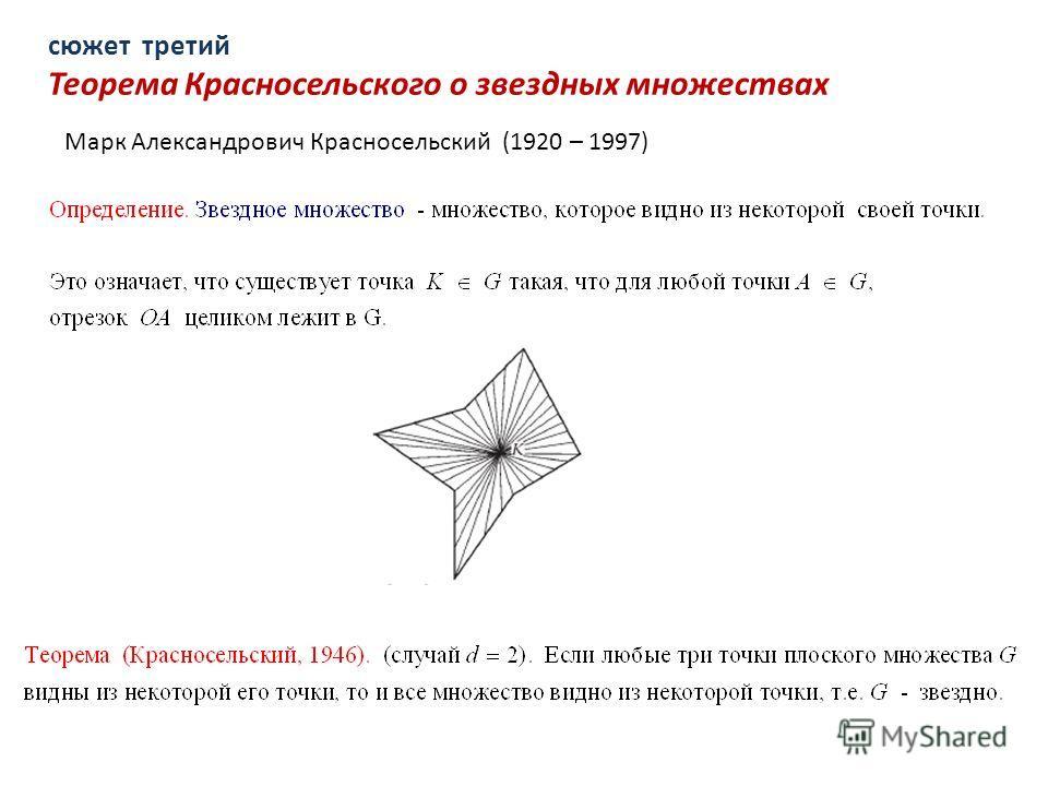 сюжет третий Теорема Красносельского о звездных множествах Марк Александрович Красносельский (1920 – 1997)