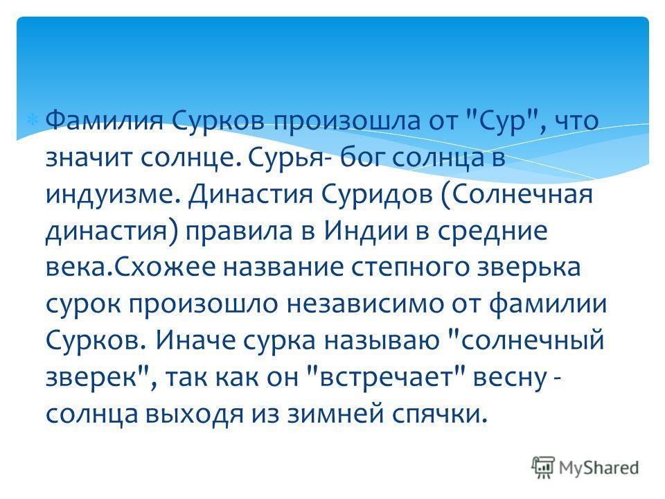 Фамилия Сурков произошла от
