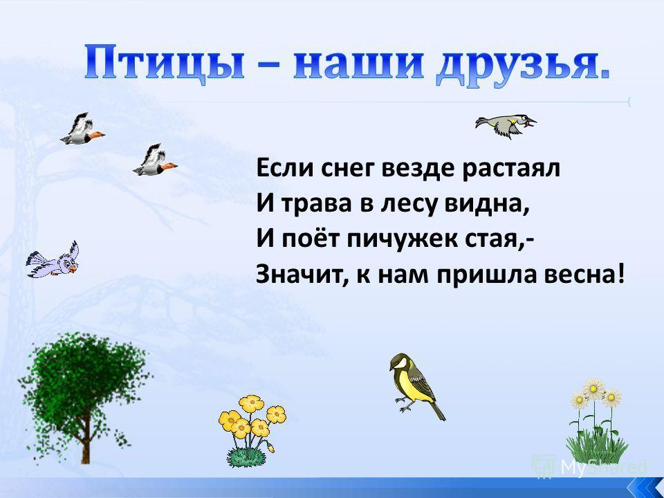 Если снег везде растаял И трава в лесу видна, И поёт пичужек стая,- Значит, к нам пришла весна!
