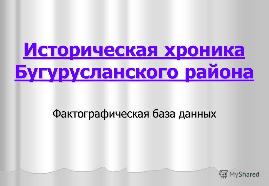 Историческая хроника Бугурусланского района Фактографическая база данных