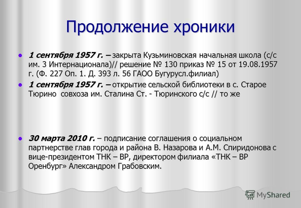 Продолжение хроники 1 сентября 1957 г. – закрыта Кузьминовская начальная школа (с/с им. 3 Интернационала)// решение 130 приказ 15 от 19.08.1957 г. (Ф. 227 Оп. 1. Д. 393 л. 56 ГАОО Бугурусл.филиал) 1 сентября 1957 г. – закрыта Кузьминовская начальная