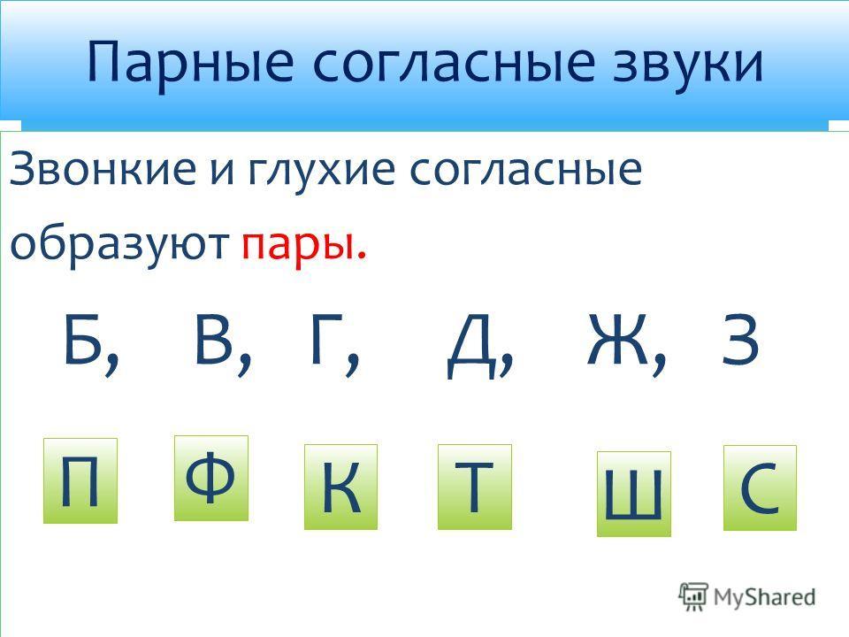 Звонкие и глухие согласные образуют пары. Б, В, Г, Д, Ж, З Парные согласные звуки П Ф КТ Ш С