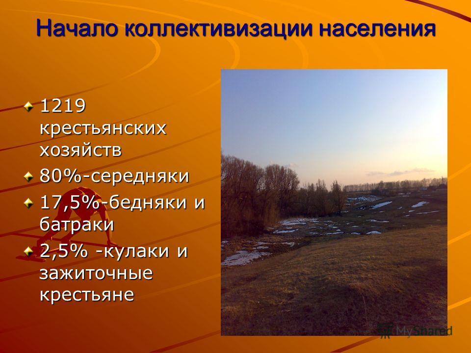 Начало коллективизации населения 1219 крестьянских хозяйств 80%-середняки 17,5%-бедняки и батраки 2,5% -кулаки и зажиточные крестьяне