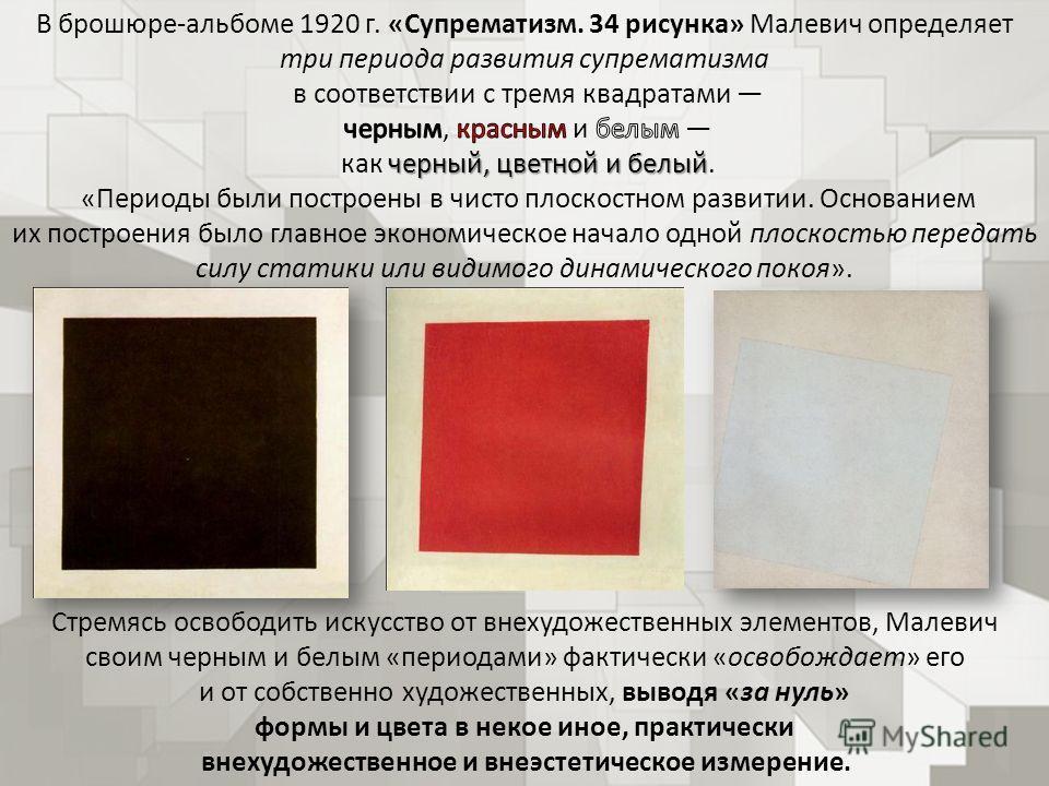Стремясь освободить искусство от внехудожественных элементов, Малевич своим черным и белым «периодами» фактически «освобождает» его и от собственно художественных, выводя «за нуль» формы и цвета в некое иное, практически внехудожественное и внеэстети