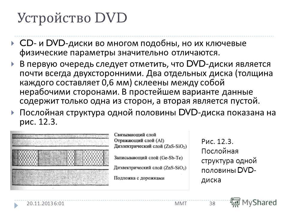 Устройство DVD 20.11.2013 6:03 ММТ 37 Внешне DVD- диск напоминает CD: оба являются оптическими дисками диаметром 12 см и толщиной 1,2 мм. Аналогичны они и по принципам записи цифровой информации. Оба состоят из прозрачной полимерной подложки, отражаю