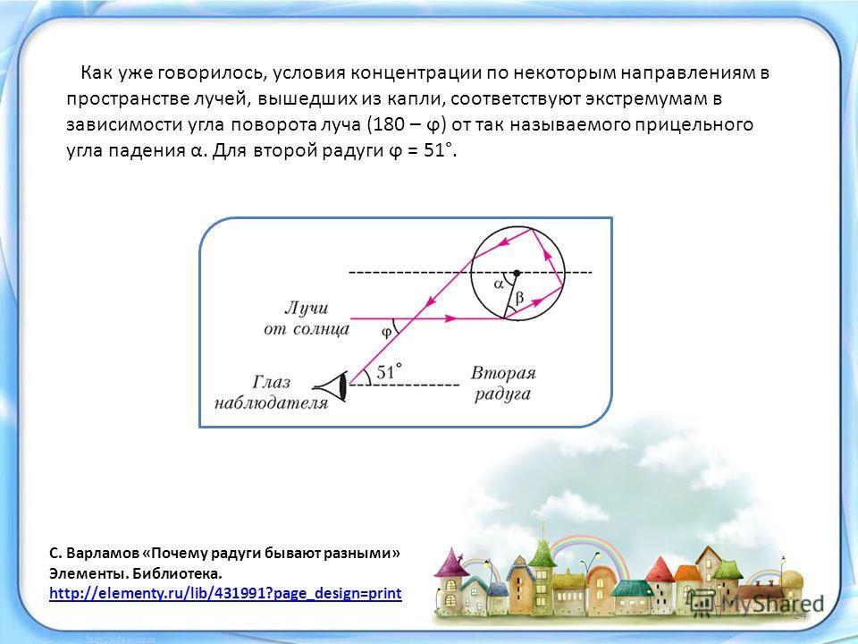 Как уже говорилось, условия концентрации по некоторым направлениям в пространстве лучей, вышедших из капли, соответствуют экстремумам в зависимости угла поворота луча (180 – ϕ) от так называемого прицельного угла падения α. Для второй радуги ϕ = 51°.