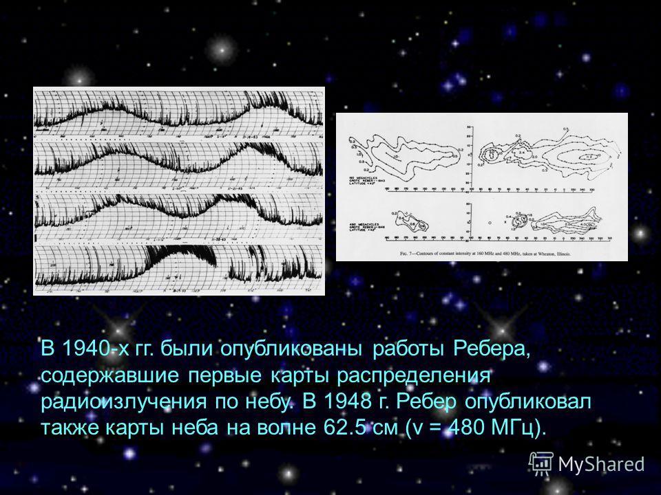 В 1940-х гг. были опубликованы работы Ребера, содержавшие первые карты распределения радиоизлучения по небу. В 1948 г. Ребер опубликовал также карты неба на волне 62.5 см (ν = 480 МГц).