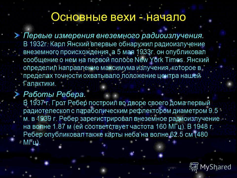 Основные вехи - начало Первые измерения внеземного радиоизлучения. В 1932г. Карл Янский впервые обнаружил радиоизлучение внеземного происхождения, а 5 мая 1933г. он опубликовал сообщение о нем на первой полосе New York Times. Янский определил направл