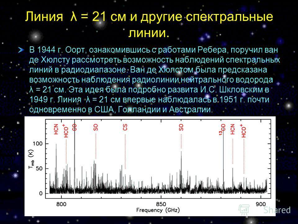 Линия λ = 21 см и другие спектральные линии. В 1944 г. Оорт, ознакомившись с работами Ребера, поручил ван де Хюлсту рассмотреть возможность наблюдений спектральных линий в радиодиапазоне. Ван де Хюлстом была предсказана возможность наблюдения радиоли