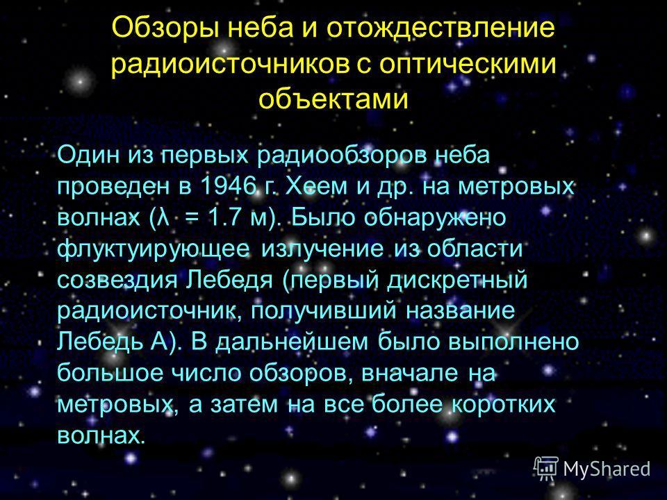 Обзоры неба и отождествление радиоисточников с оптическими объектами Один из первых радиообзоров неба проведен в 1946 г. Хеем и др. на метровых волнах (λ = 1.7 м). Было обнаружено флуктуирующее излучение из области созвездия Лебедя (первый дискретный
