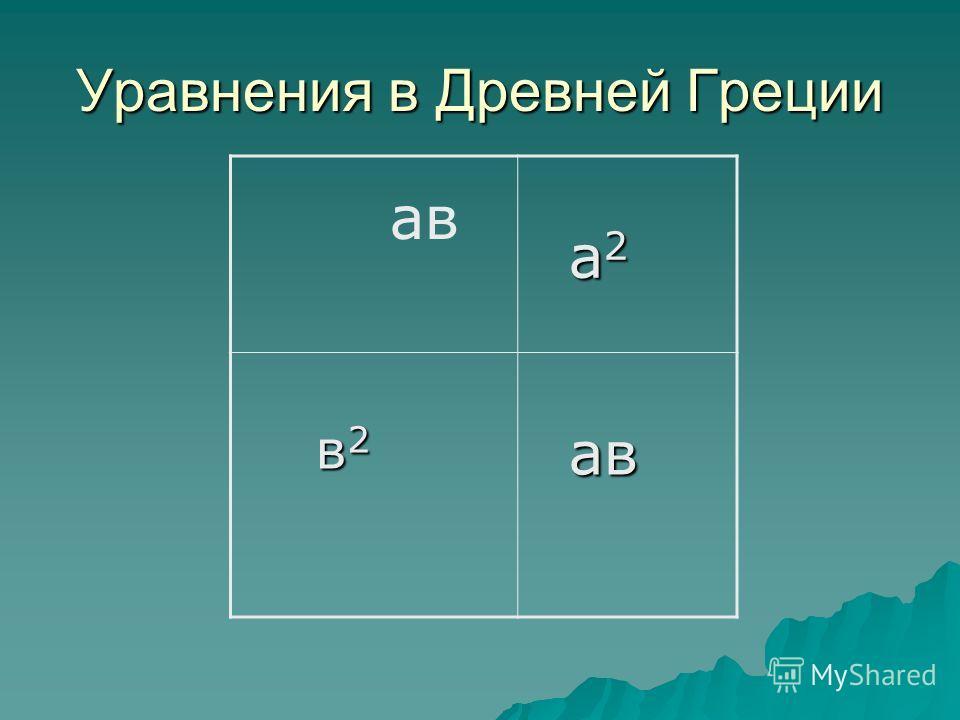 Уравнения в Древней Греции а 2 а 2 в 2 в 2 ав ав ав