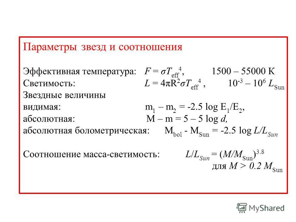 Параметры звезд и соотношения Эффективная температура: F = σT eff 4, 1500 – 55000 К Светимость: L = 4πR 2 σT eff 4, 10 -3 – 10 6 L Sun Звездные величины видимая: m 1 – m 2 = -2.5 log E 1 /E 2, абсолютная: M – m = 5 – 5 log d, абсолютная болометрическ