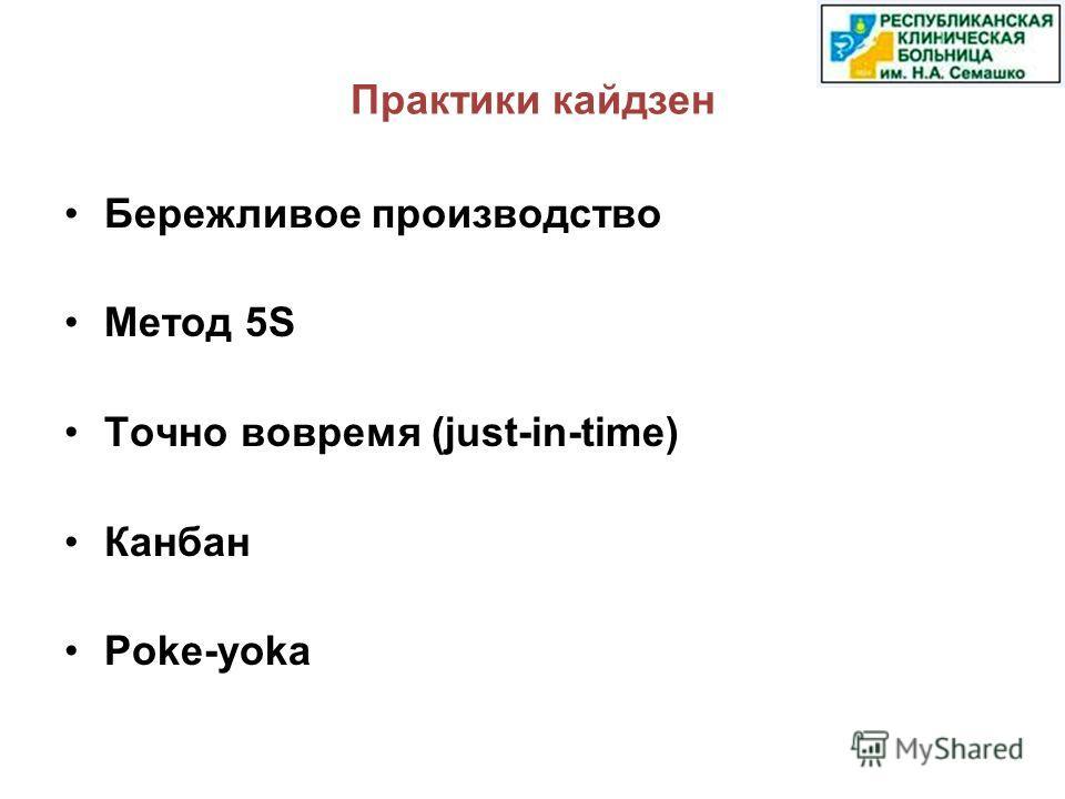 Практики кайдзен Бережливое производство Метод 5S Точно вовремя (just-in-time) Канбан Poke-yoka
