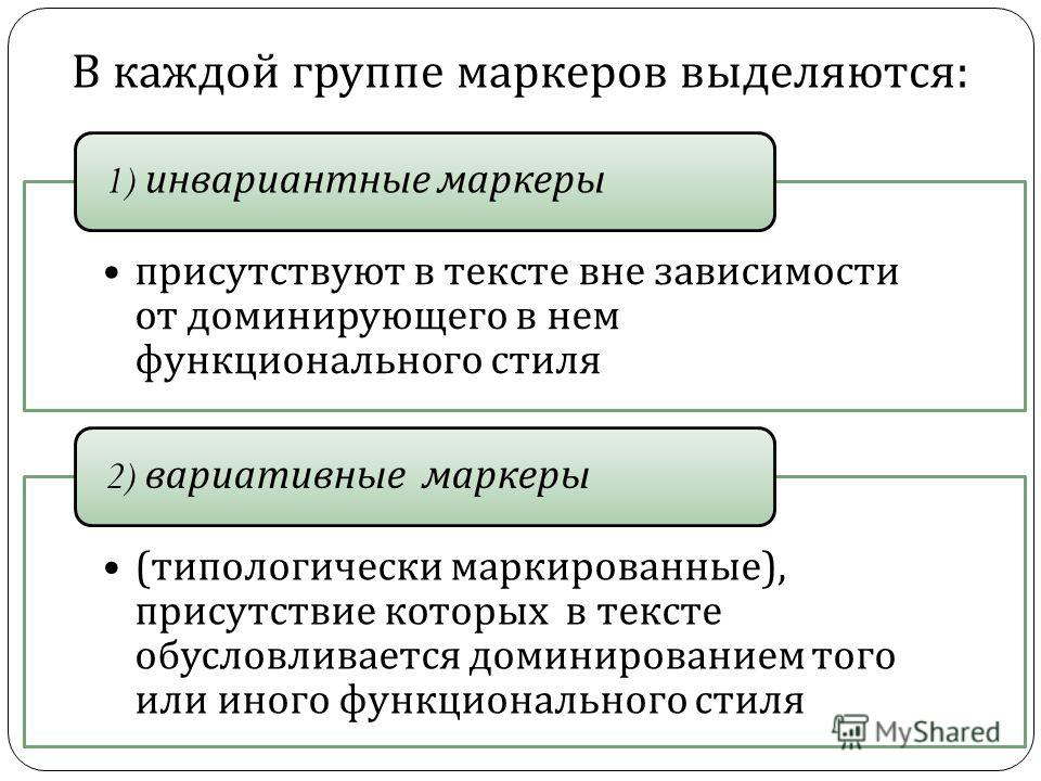 В каждой группе маркеров выделяются : присутствуют в тексте вне зависимости от доминирующего в нем функционального стиля 1) инвариантные маркеры ( типологически маркированные ), присутствие которых в тексте обусловливается доминированием того или ино