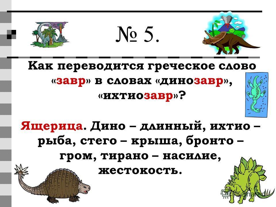 5. Как переводится греческое слово «завр» в словах «динозавр», «ихтиозавр»? Ящерица. Дино – длинный, ихтио – рыба, стего – крыша, бронто – гром, тирано – насилие, жестокость.