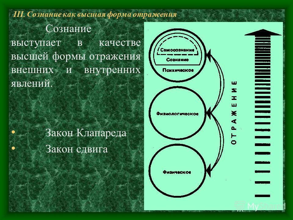 III. Сознание как высшая форма отражения Сознание выступает в качестве высшей формы отражения внешних и внутренних явлений. Закон Клапареда Закон сдвига