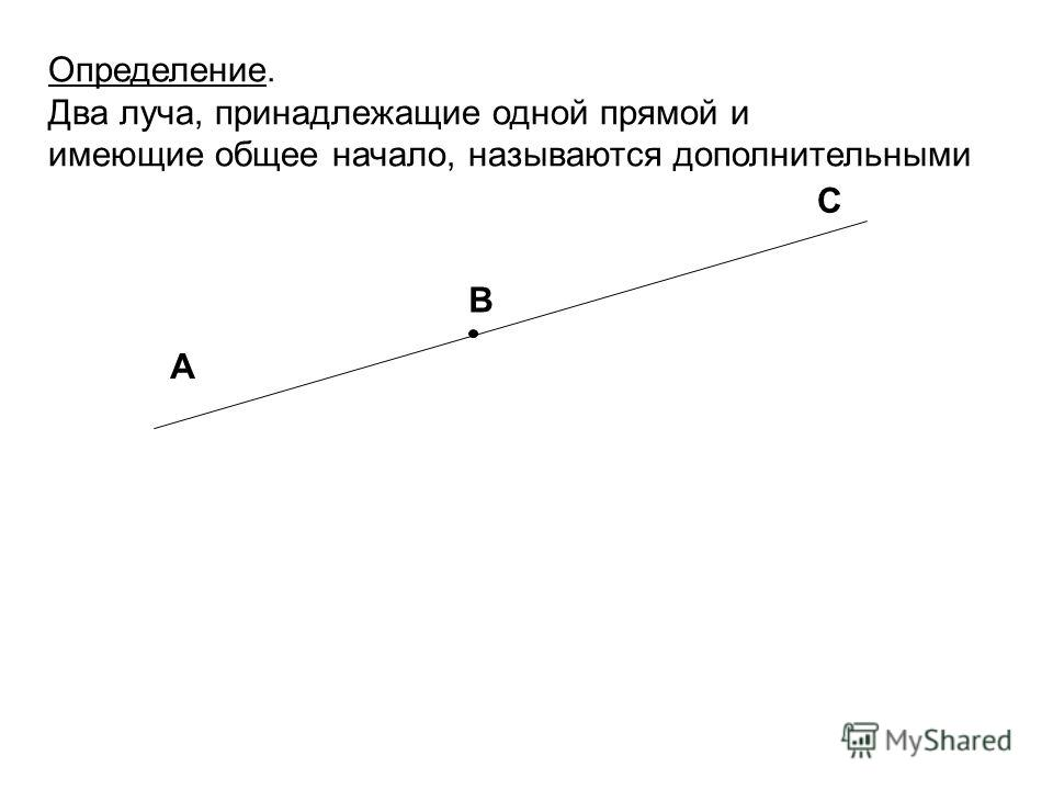 Определение. Два луча, принадлежащие одной прямой и имеющие общее начало, называются дополнительными А В С