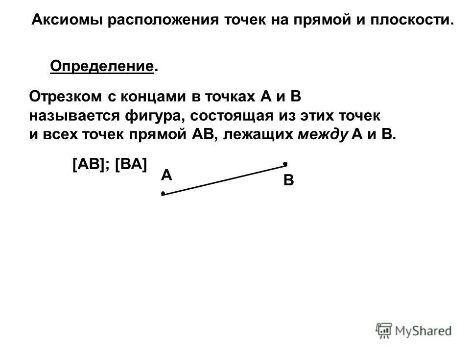 Отрезком с концами в точках А и В называется фигура, состоящая из этих точек и всех точек прямой АВ, лежащих между А и В. Определение. [AB]; [BA] A B Аксиомы расположения точек на прямой и плоскости.