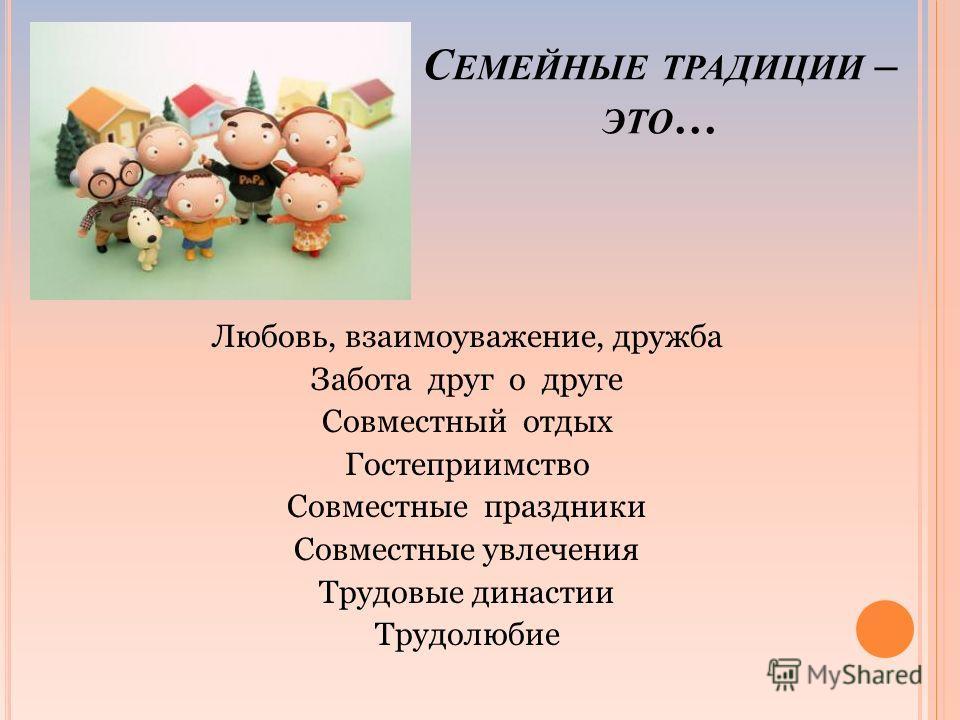 С ЕМЕЙНЫЕ ТРАДИЦИИ – ЭТО … Любовь, взаимоуважение, дружба Забота друг о друге Совместный отдых Гостеприимство Совместные праздники Совместные увлечения Трудовые династии Трудолюбие