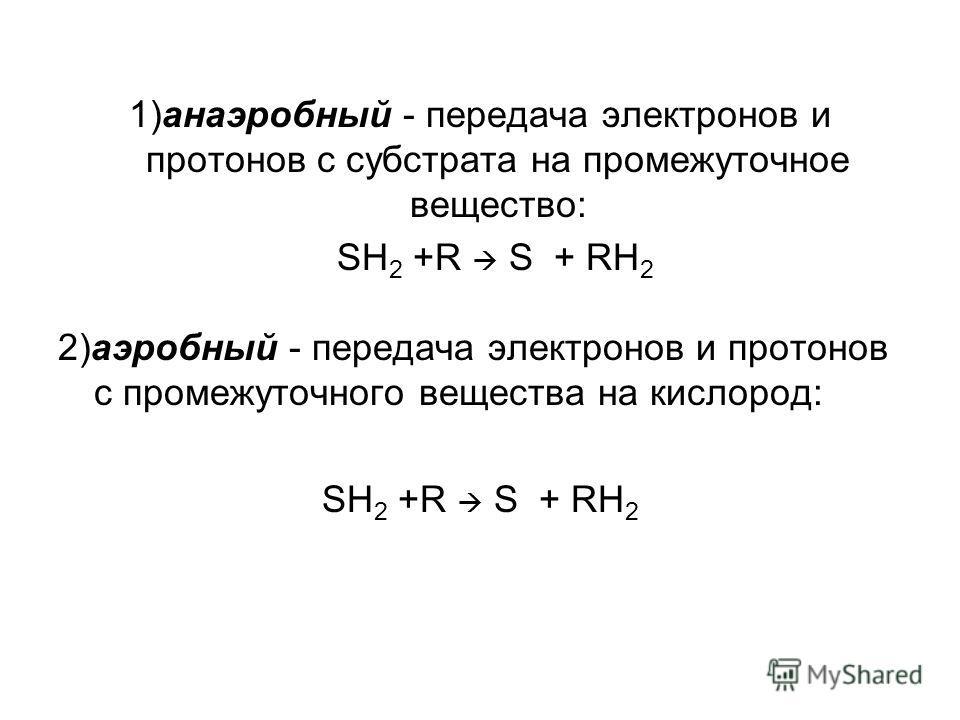 1)анаэробный - передача электронов и протонов с субстрата на промежуточное вещество: SH 2 +R S + RH 2 2)аэробный - передача электронов и протонов с промежуточного вещества на кислород: SH 2 +R S + RH 2